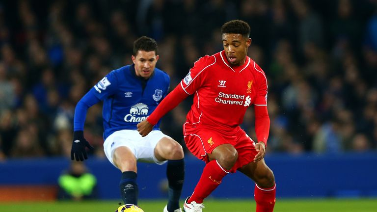 Jordon Ibe of Liverpool controls the ball during the Barclays Premier League match against Everton