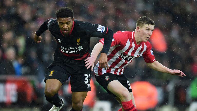 Jordon Ibe of Liverpool goes past Matt Targett of Southampton