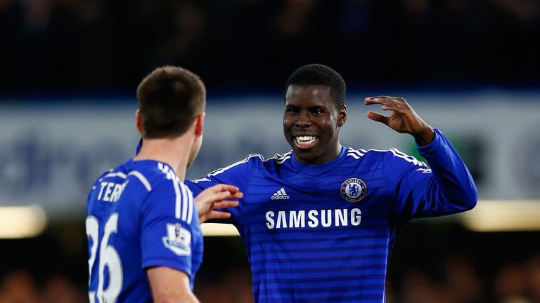 Kurt Zouma of Chelsea celebrates victory with John Terry of Chelsea  during the Capital One Cup Semi-Final second leg against Liverpool