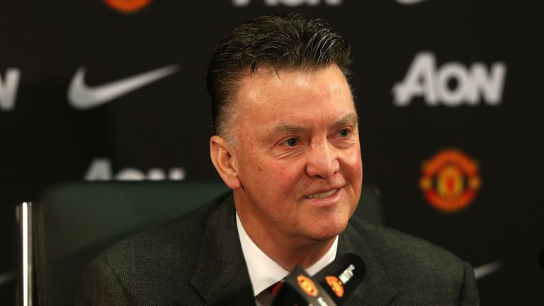Manager Louis van Gaal of Manchester United speaks during a press conference at Old Trafford