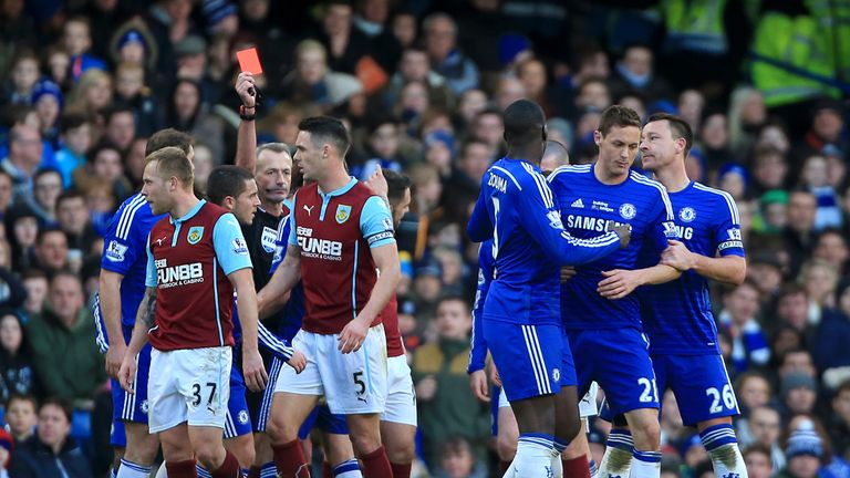 Chelsea's Nemanja Matic (2nd right) is shown a red card