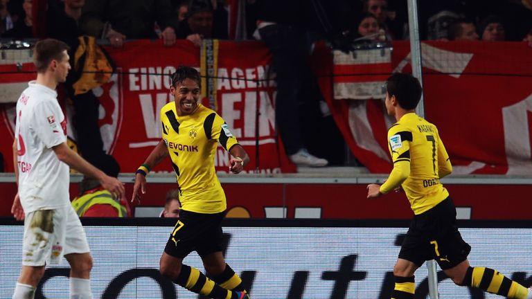 Pierre-Emerick Aubameyang celebrates his goal in Friday's 3-2 win at Stuttgart