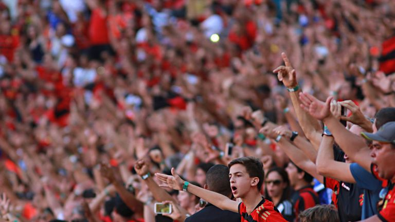 RECIFE, BRAZIL - NOVEMBER 23: Fans of Sport Recife cheer before a match between Sport Recife and Fluminense as part of Brasileirao Series A 2014 at Arena P