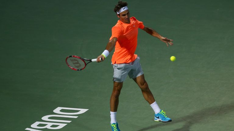 Roger Federer beat Mikhail Youznhy to reach the second round of the Dubai Tennis Championship