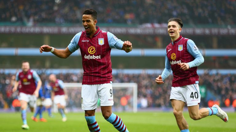 Scott Sinclair of Aston Villa celebrates scoring the second goal during the FA Cup fifth round match between Aston Villa and Leicester City