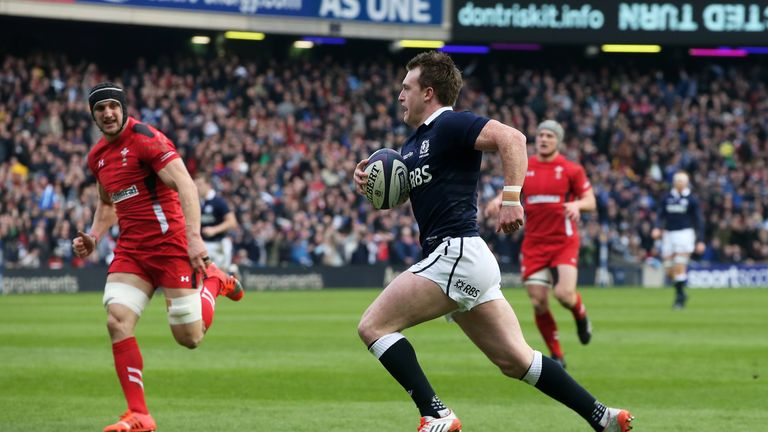 Stuart Hogg scored the opening try of the match