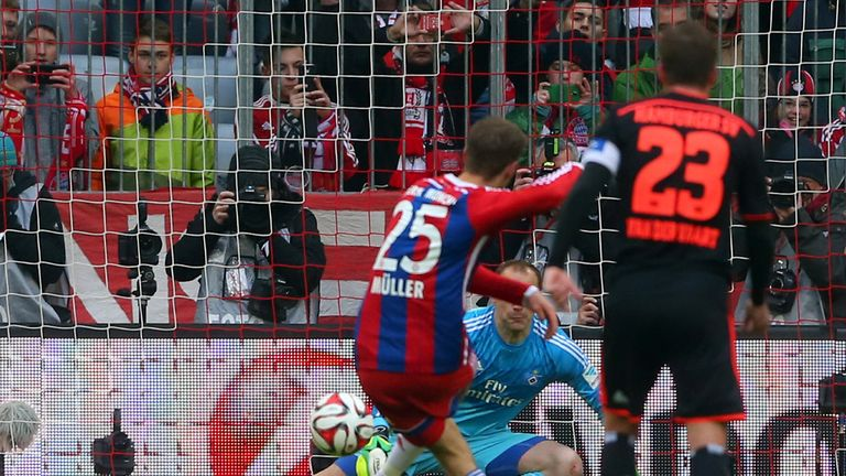 Thomas Muller fires home the opener for Bayern Munich