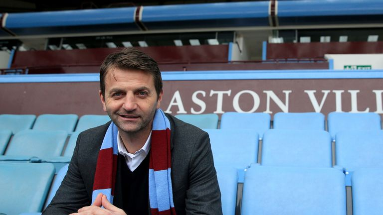 New Aston Villa manager Tim Sherwood poses for the media after a press conference at Villa Park, Birmingham.
