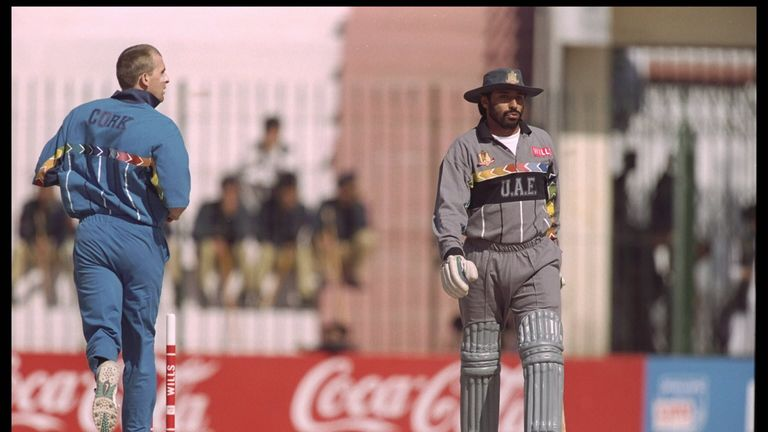 Dominic Cork dismisses Sultan Zarawani of the UAE during their last World Cup in 1996