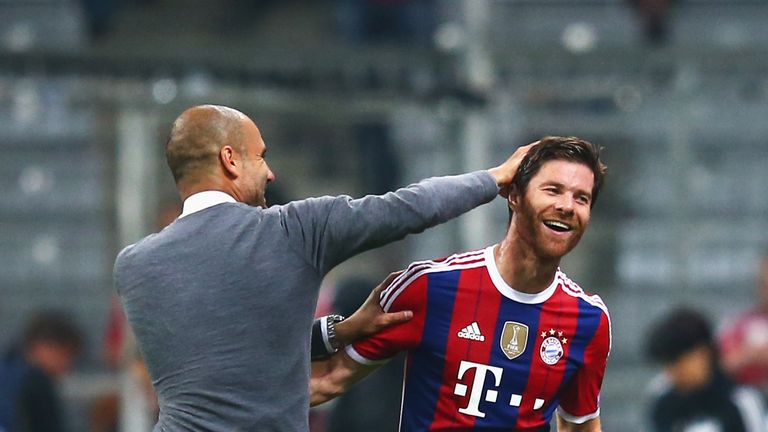 Former Liverpool midfielder Xabi Alonso plays for Pep Guardiola's Bayern Munich