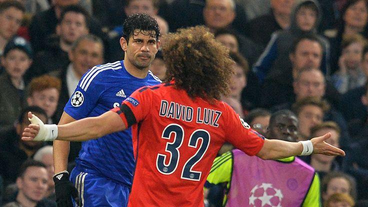 Paris Saint-Germain's David Luiz gestures towards Chelsea's Diego Costa