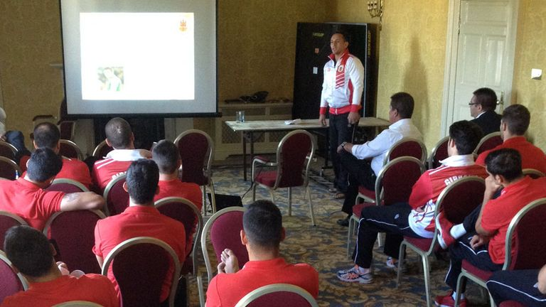 David Wilson addressing Gibraltar squad ahead of European Qualifier.