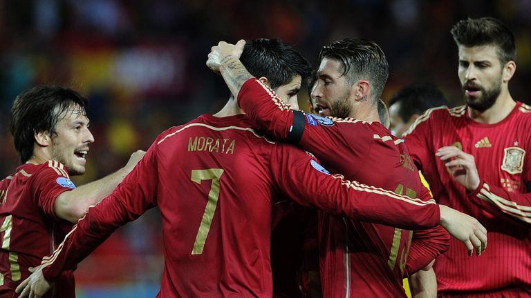 Alvaro Morata celebrates scoring for Spain against Ukraine