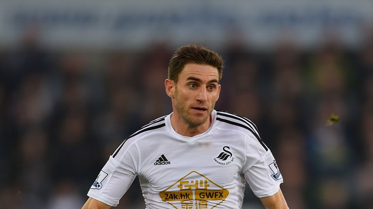 Angel Rangel of Swansea in action during the Barclays Premier League match between Swansea City and Crystal Palace