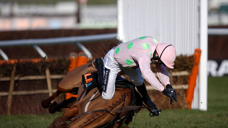 Ruby Walsh falls from Annie Power at the last when clear in The OLBG Mare' Hurdle Race