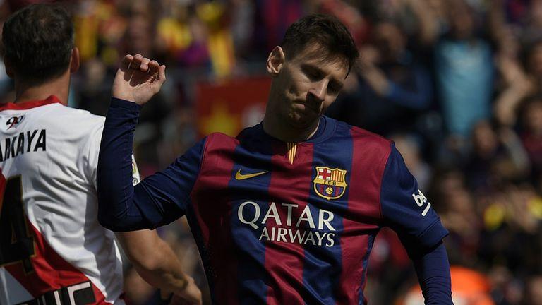 Lionel Messi celebrates after scoring against Rayo Vallecano