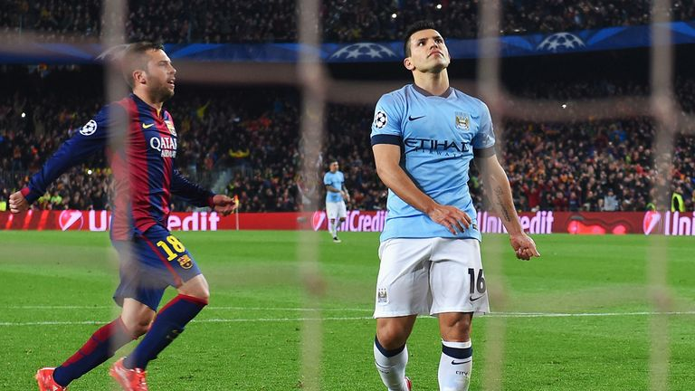 Sergio Aguero missed a penalty in the latter stages at the Nou Camp