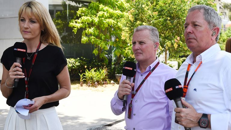 Sky F1's Rachel Brookes, Johnny Herbert and Martin Brundle  at Sepang