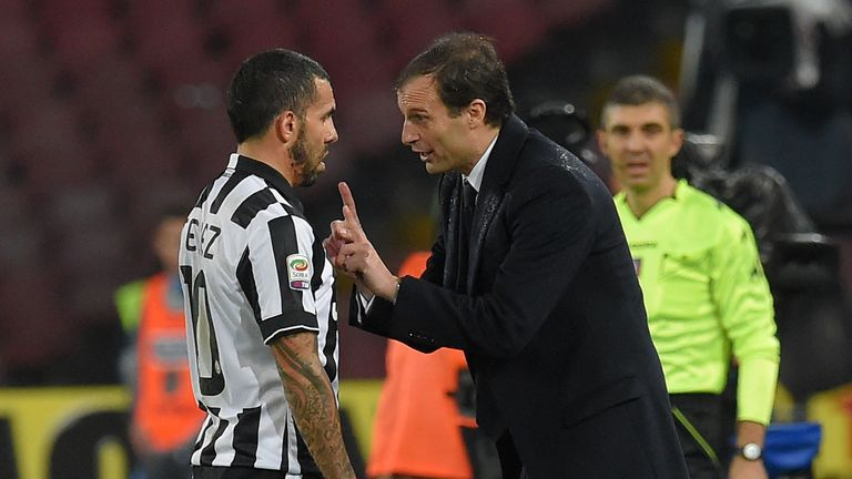Carlos Tevez and Massimiliano Allegri head coach of Juventus during the Serie A match between SSC Napoli and Juventus FC in January 2015