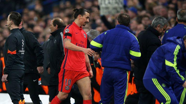 Zlatan Ibrahimovic departs after being sent off at Stamford Bridge