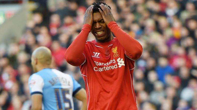 LIVERPOOL, ENGLAND - MARCH 08:  Daniel Sturridge of Liverpool reacts after a missed chance on goal during the FA Cup Quarter Final match between Liverpool