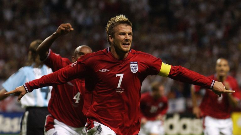 David Beckham Captain of England celebrates scoring during the  Group F against Argentina at the 2002 World Cup at the Sapporo Dome