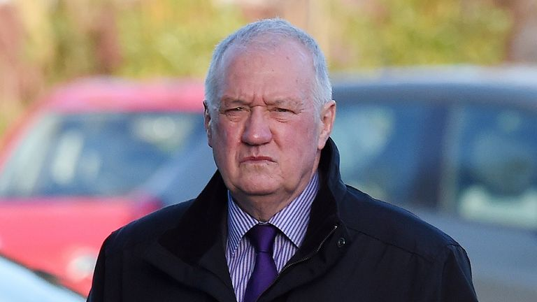 Former police chief superintendent David Duckenfield arrives at the coroner's court in Warrington, north-west England, on March 10, 2015.
