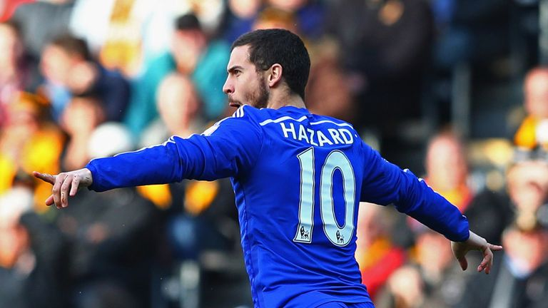 Eden Hazard of Chelsea celebrates as he scores their first goal against Hull