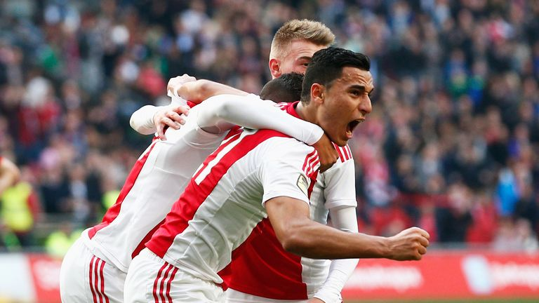 Anwar El-Ghazi of Ajax celebrates scoring the only goal of the game