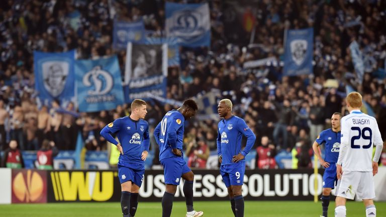 Everton FC players react after losing a goal to FC Dynamo Kiev