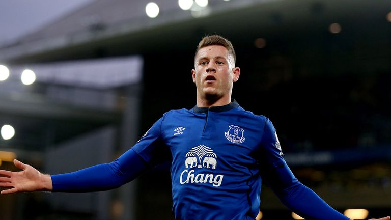 Everton's Ross Barkley celebrates scoring his sides third goal of the game during the Barclays Premier League match at Goodison Park, Liverpool