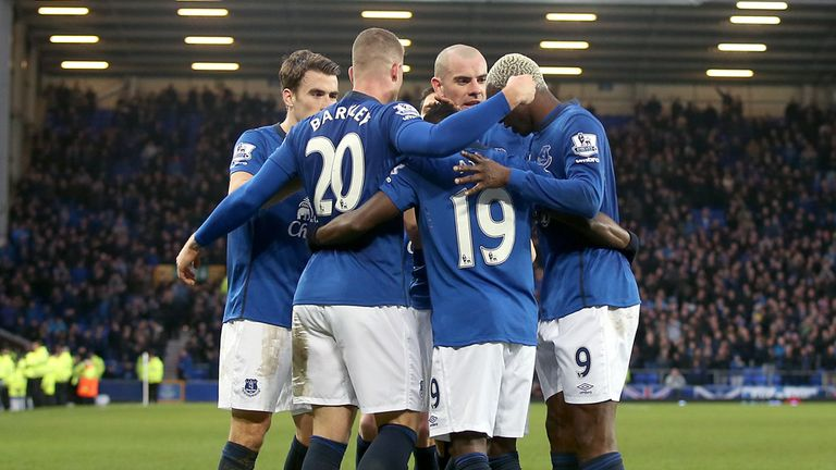 Ross Barkley (second from left) celebrates with team-mates after scoring Everton's third