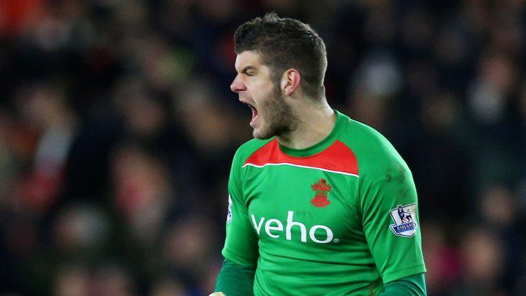 Southampton goalkeeper Fraser Forster celebrates
