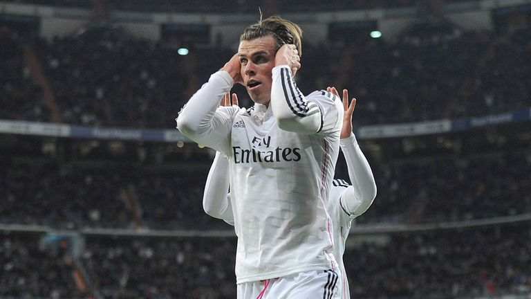 MADRID, SPAIN - MARCH 15:  Gareth Bale of Real Madrid celebrates after scoring Real's opening goal during the La Liga match between Real Madrid CF and Leva
