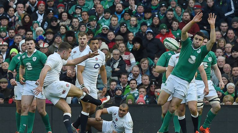 England's George Ford slots over a drop-kick