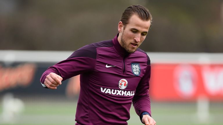 ENFIELD, ENGLAND - MARCH 26:  Harry Kane of England in action during an England training session ahead of the Euro 2016 qualifier against Lithuania at Enfi