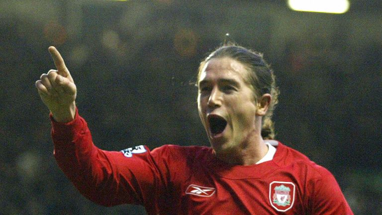Liverpool's Harry Kewell celebrates scoring against Tottenham Hotspur during their English Premiership football match at Anfiel