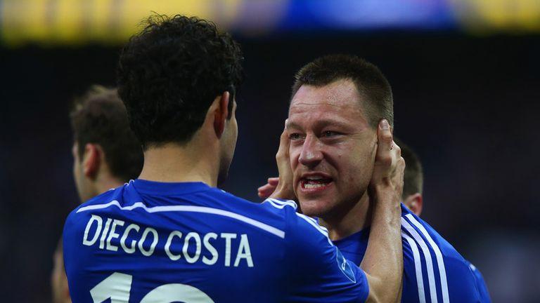 John Terry celebrates with Diego Costa