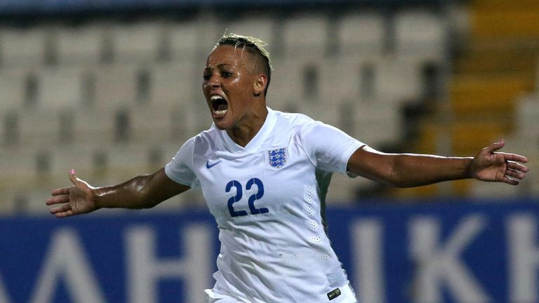 LARNACA, CYPRUS - MARCH 11: England's Lianne Sanderson celebrates after scoring a goal at the Cyprus Cup final match between England and Canada