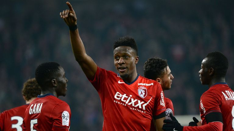 Lille's Belgian forward Divock Origi (C) celebrates after scoring a goal during the French L1 football match between Lille (LOSC) and Rennes (SRFC).