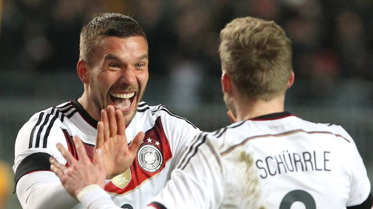 Lukas Podolski will make his 124th international cap for Germany in a friendly against USA on Wednesday