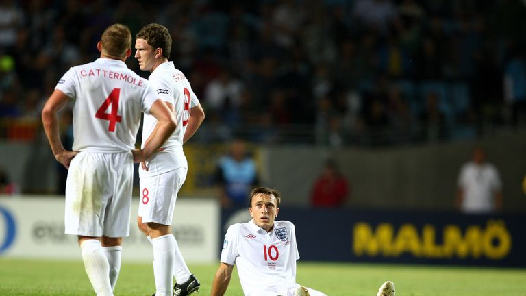 MALMO, SWEDEN - JUNE 29:  Mark Noble of England reacts at the end of the UEFA U21 European Championships Final match between England and Germany at the New