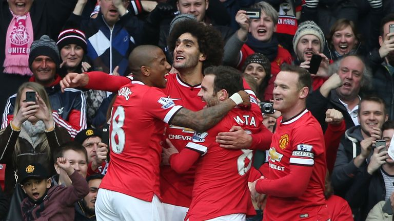 Marouane Fellaini goal celeb, Wayne Rooney, Ashley Young, Juan Mata, Manchester United v Tottenham, Premier League