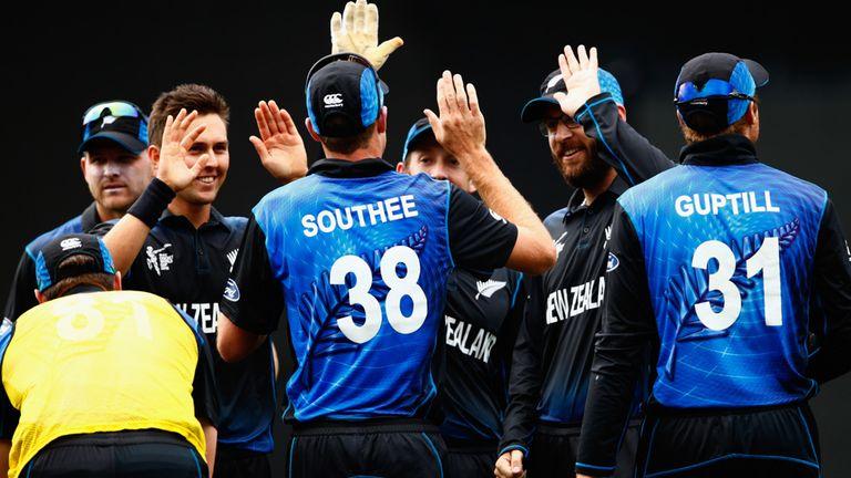 Trent Boult celebrates the wicket of Quinton De Kock