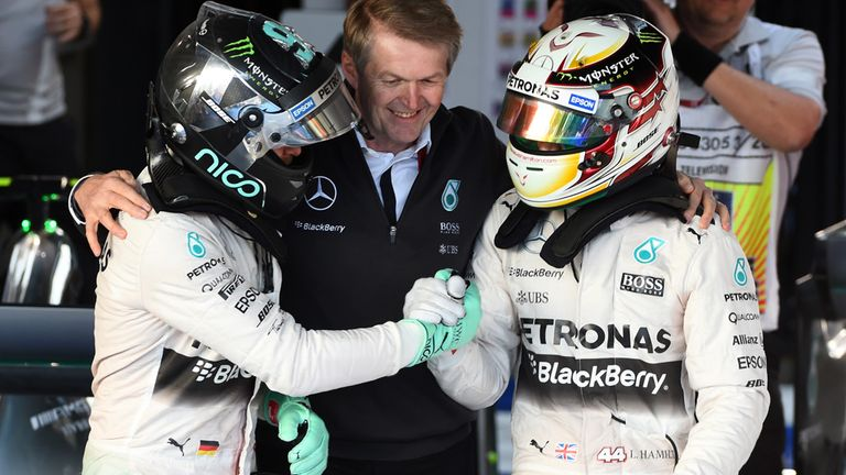 Lewis Hamilton (GBR) Mercedes AMG F1 and Nico Rosberg (GER)