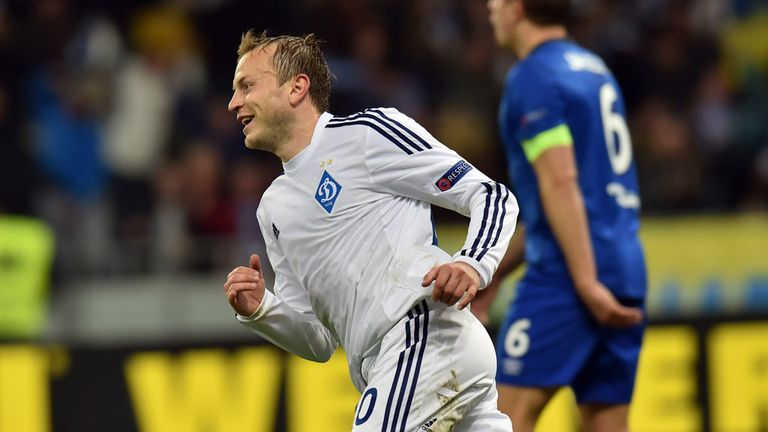 Dynamo Kiev's midfielder Oleg Gusev celebrates after scoring during the UEFA Europa League round of 16 football match between Dynamo Kiev and Everton