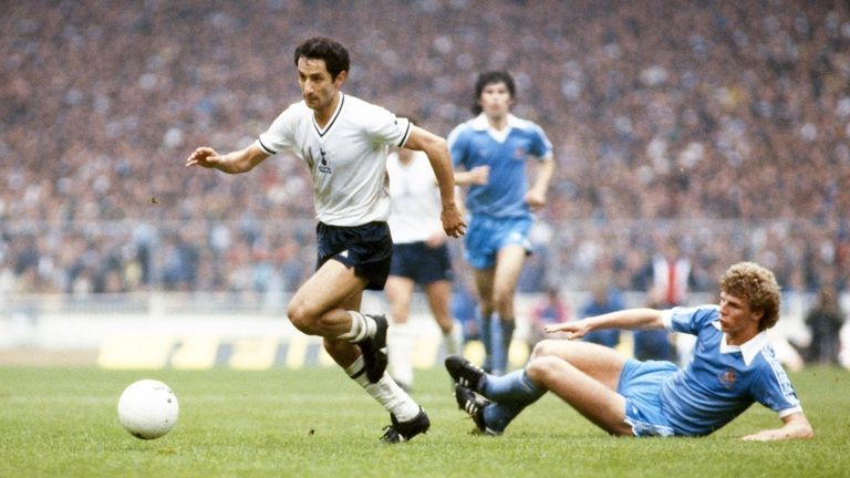 Spurs player Osvaldo Ardiles skips the challenge of Man City defender Tommy Caton during the 1981 FA Cup Final