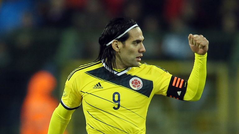 BRUSSELS, BELGIUM - NOVEMBER 14:  Radamel Falcao of Colombia celebrates the first goal during the international friendly match between Belgium and Colombia