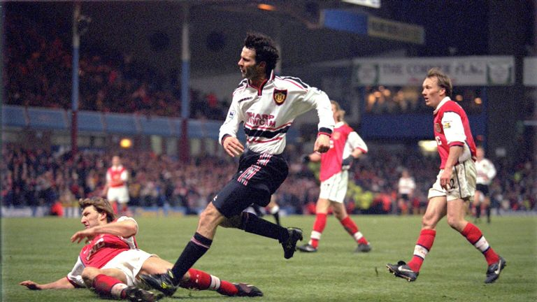 Ryan Giggs scores the winning goal for Manchester United against Arsenal in extra time during the FA Cup semi-final in 1999