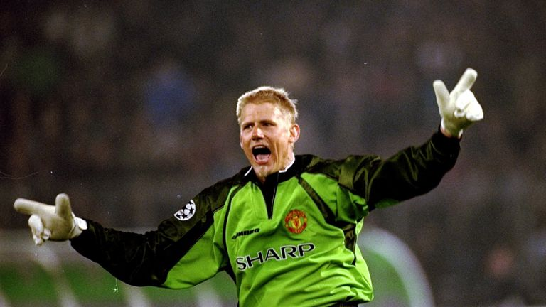 Manchester United keeper Peter Schmeichel celebrates a goal in the UEFA Champions League semi-final second leg match against Juventus at the